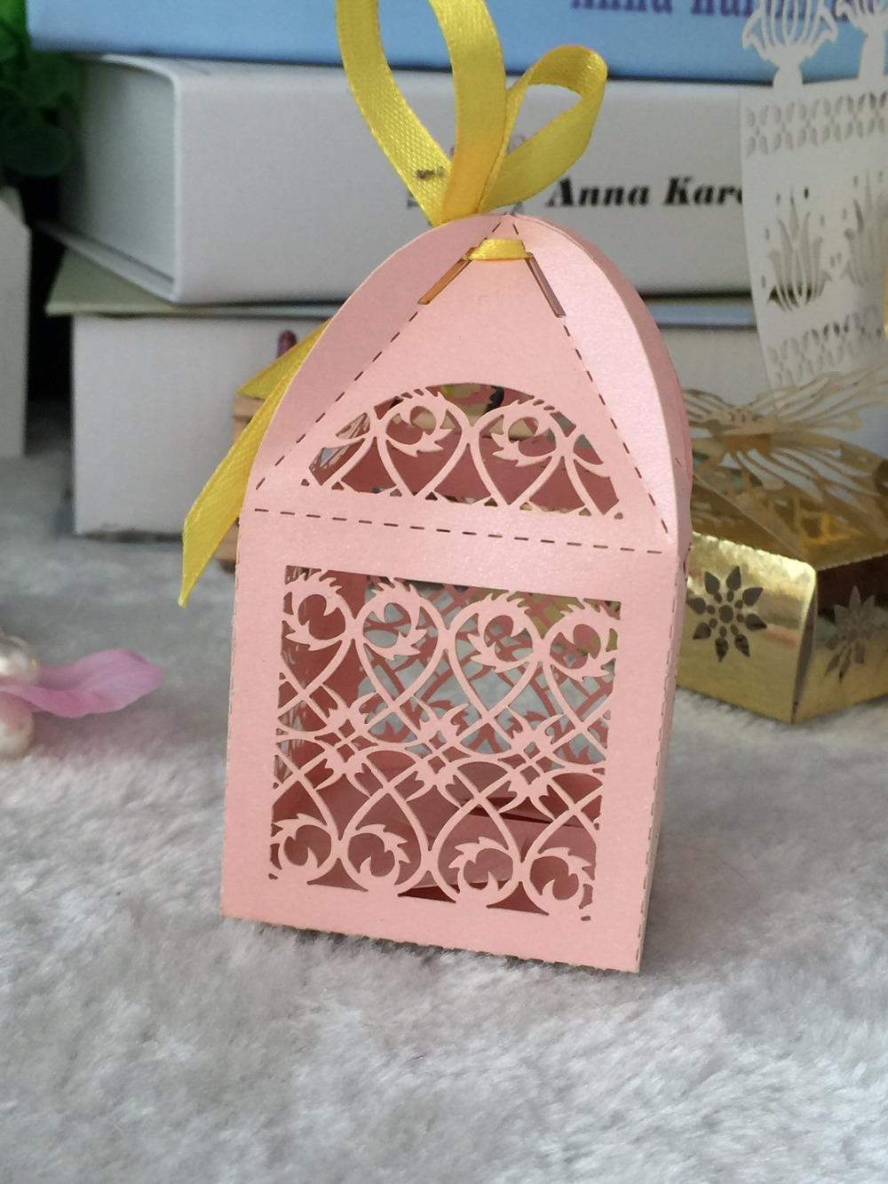300pcs Pink Color Laser Cut Wedding Gift Box with Ribbon,Party Candy ...