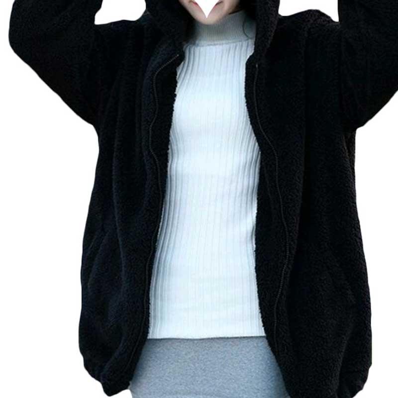 Women Casual Fluffy Bear Ear Hoodie Hooded Jacket Lady Warm Outerwear Basic Coat
