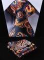 """TF451V8 Laranja Azul Marinho Floral 3.4 """"100% Do Casamento De Seda Tecido Jacquard Homens Gravata do laço Bolso Praça Handkerchief Set Suit"""