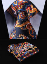 "TF451V8 Orange Navy Blue Floral 3.4"" 100%Silk Wedding Jacquard Woven Men Tie Necktie Pocket Square Handkerchief Set Suit(China)"