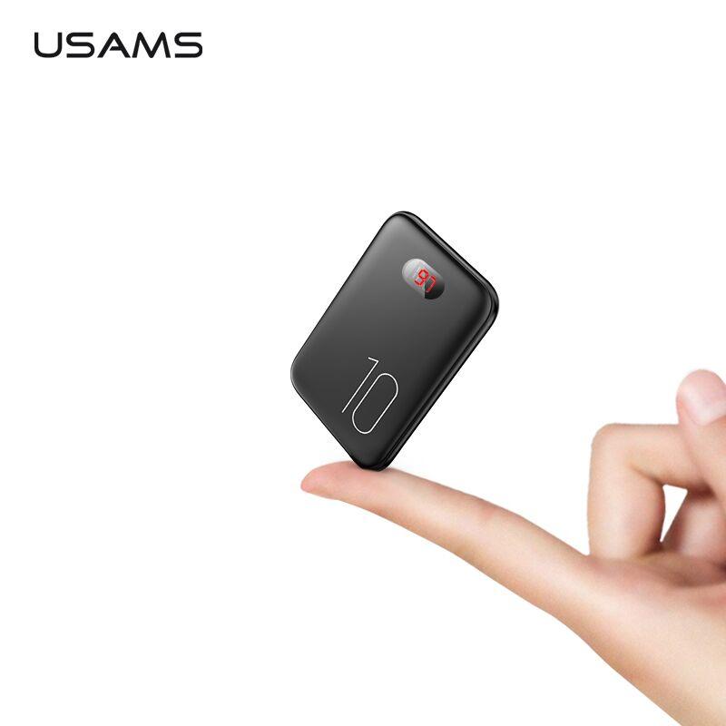 Banco de potencia para xiaomi mi iPhone USAMS mi ni Pover Banco 10000 mAh pantalla LED Powerbank batería externa Poverbank de carga rápida