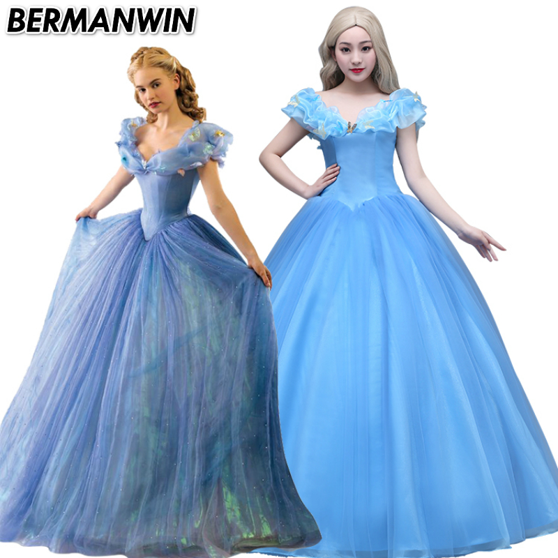 Princess Cinderella Wedding Dress Costume For: BERMANWIN High Quality Newest Movie Adult Cinderella Dress