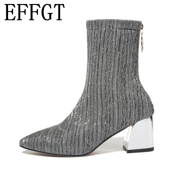 72328d006 Effgt Otoño Z108 2019 Lentejuelas Zapatos Tobillo Botas Moda Mujeres Zipper  Talón Mediados Goma Martin Llegada ...