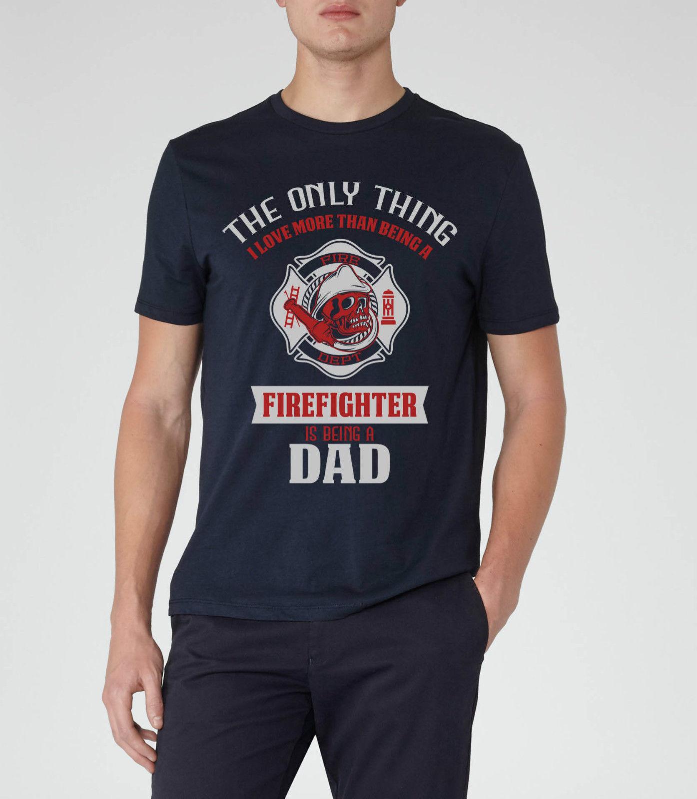 FIREMAN T 셔츠 DAD FIREFIGHTER UNIFORM 반팔 새로운 패션 T 셔츠 남성 의류 성인 캐주얼 티셔츠 탑 티즈