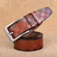 3.8cm Classic lattice leather genuine leather belt Men's luxury man brand cowboy belts for men jeans ceinture  homme 125cm C217