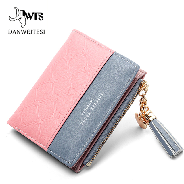 b7edaf5b36ec DWTS женский кошелек на молнии 2018 розовый маленький женский кошелек  мягкий клатч люксовый бренд кошельки,