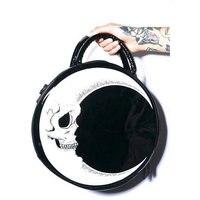 Gothic Round Shape Moon Bag Women S Rock Harajuku Skull Head Half Moon Shoulder Bag Fashion