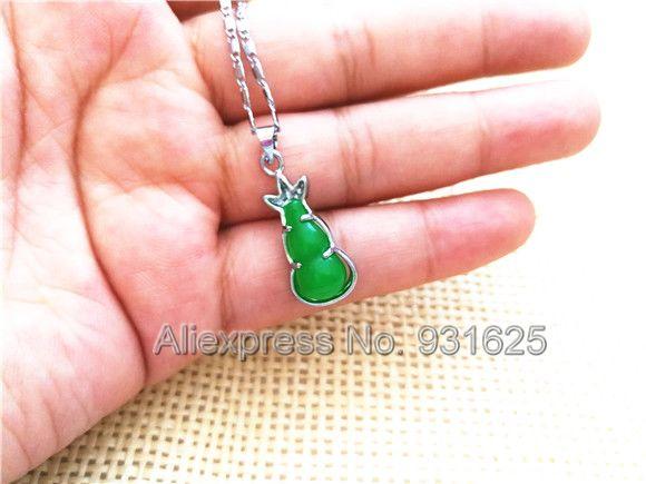 Красивый натуральный подлинный зеленый Юй резные кукурбит камень Стиль инкрустация Лаки кулон + ожерелье Модные женские ювелирные изделия