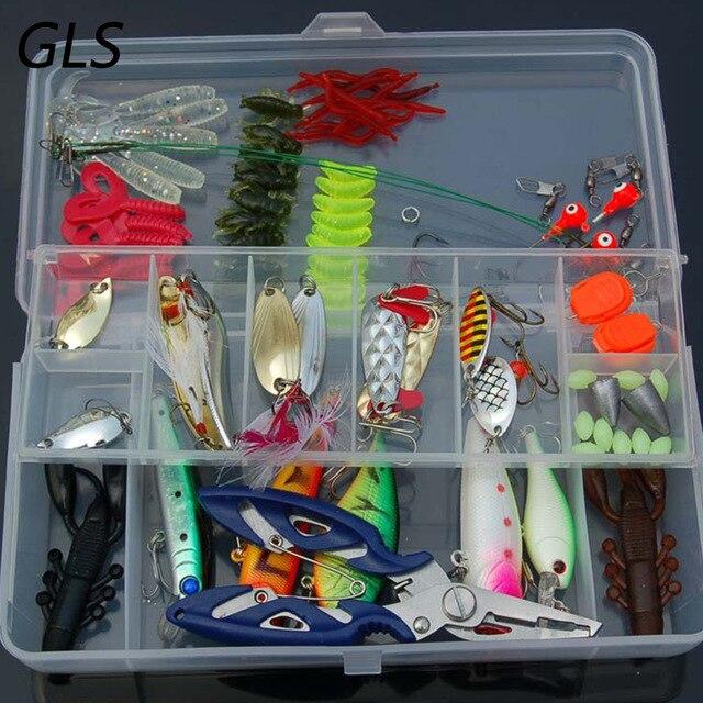 Ensemble de leurres de pêche portables 101 pièces hameçons de méné mélangés Kit de leurre de poisson dans la boîte