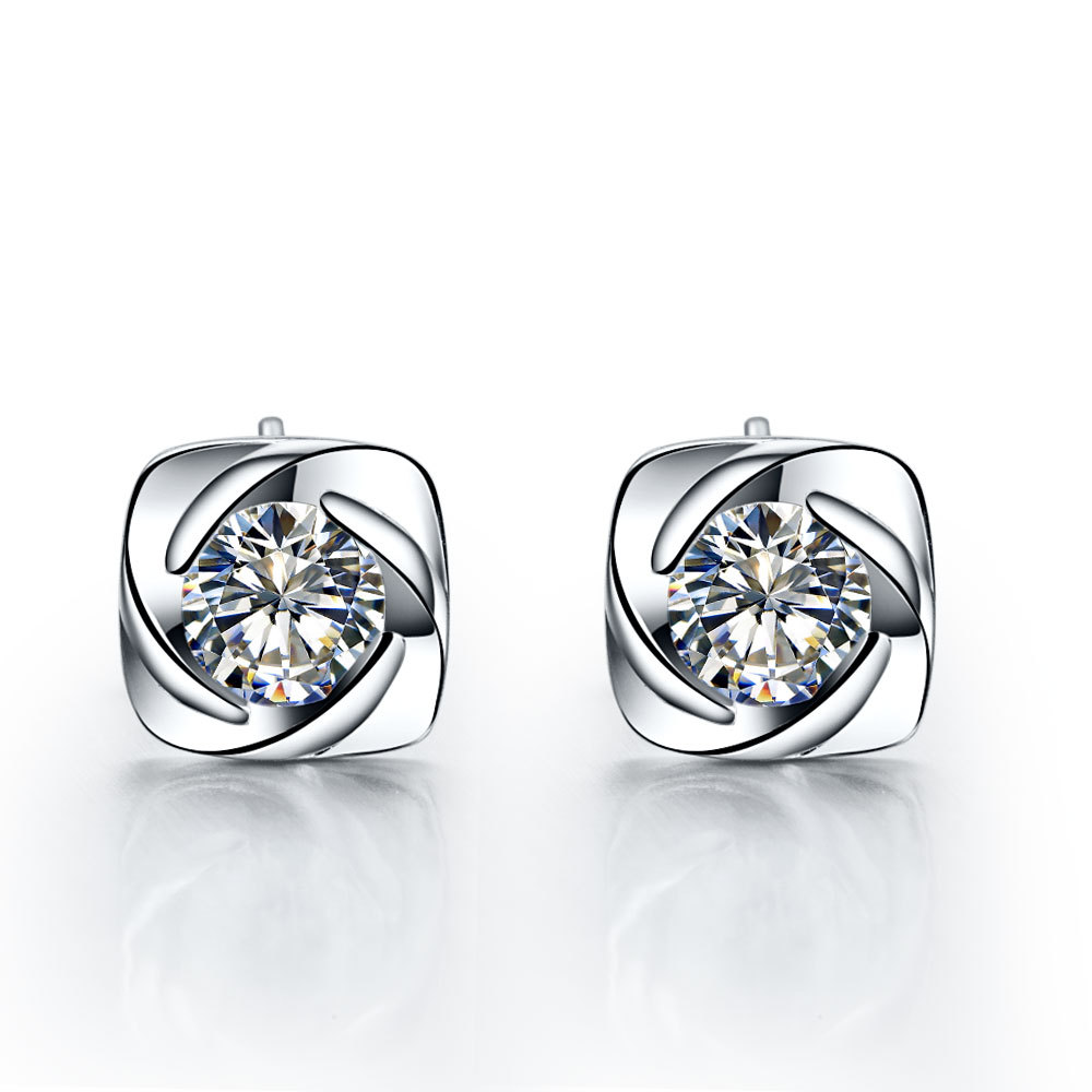 Piece Unsex Swirling Style Synthetic Diamonds Earrings Stud Fortable Ear Jewelry Best Anniversary