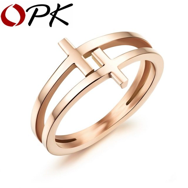 OPK Double Layer Cross Design Woman Finger Rings Fashion Rose Gold