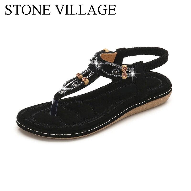 Women Sandals 2020 Flat Summer Women Sandals Crystal Bohemia Ethnic Flat Sandals Flip Flops Casual String Bead Beach Shoes Woman 1