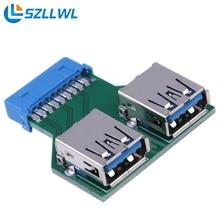 Размер мини Материнская Плата 19 КОНТАКТНОГО Коннектора для 2 Портов USB Адаптер Концентратор USB 3.0 expresscard