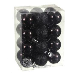 HOT SALE 24Pcs Chic Christmas Baubles Tree Plain Glitter XMAS Ornament Ball Decoration Black 5