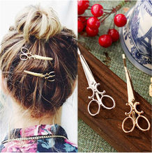 Hot Simple Head Jewelry Hair Pin Gold Scissors Shears Hair Clip For Hair Tiara Barrettes Accessories Headdress For Women Girl(China)