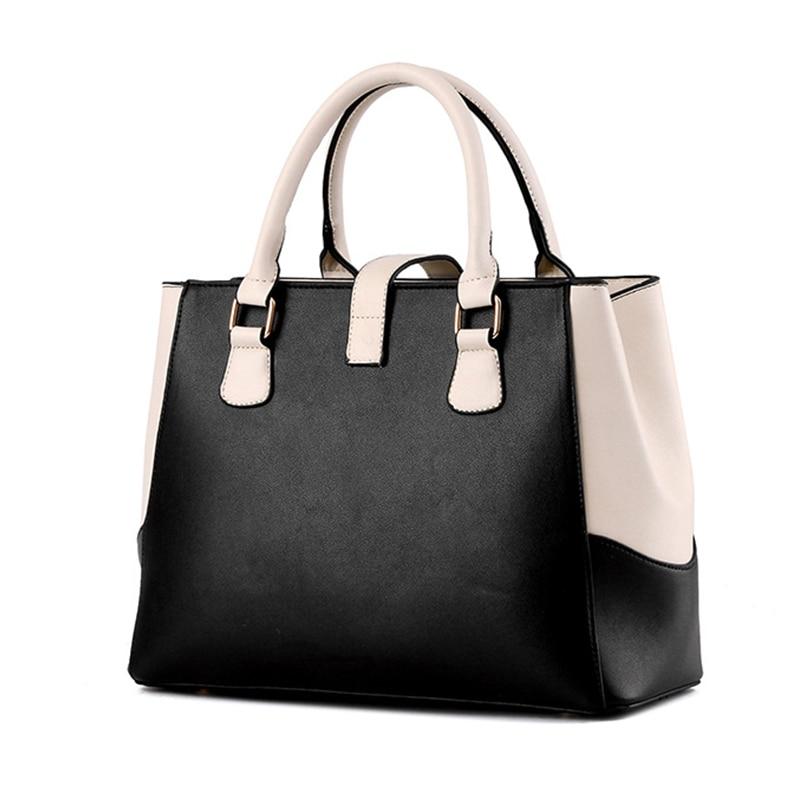High Quality Leather Women Handbag 2017 Luxury Brand Top Handle Bag Patchwork Fashion Ladies Shoulder Bag Women Casual Totes