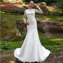 elegant beach long wedding dresses 2017 custom made appliques lace backless long sleeves women bridal gown for party