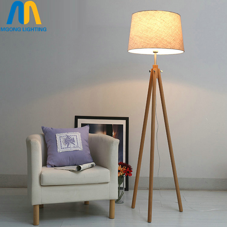 Modern Led Beautiful Wooden Design Floor Lamps Standing Lamp Japan With Cloth Shade For Living Room Bedroom Dining Study