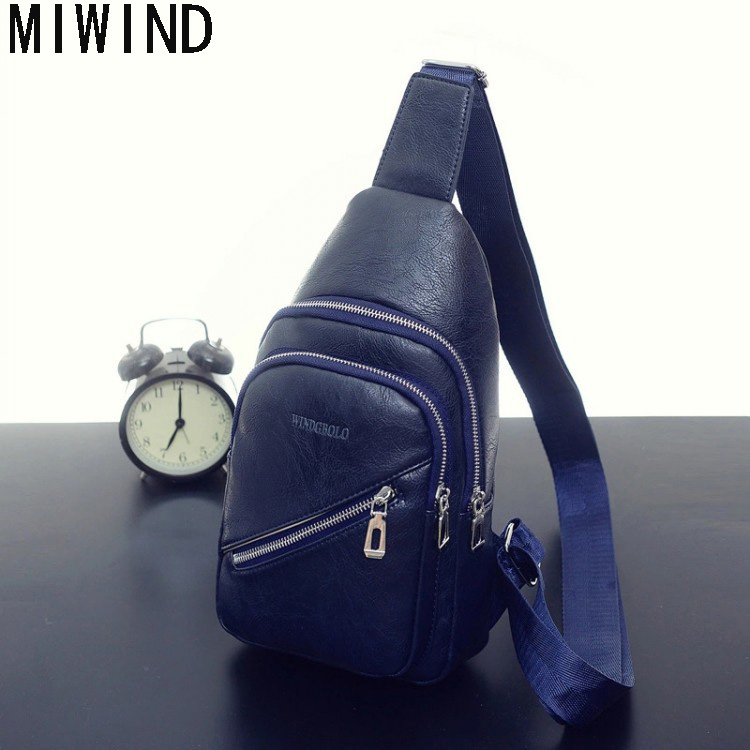 MIWIND Brand Bag Men Travel Chest Pack Leather Men Messenger Bags Single Rucksack Chest Bag Shoulder Strap Back Bag TSD1107 miwind men travel chest pack leather men crossbody bags men casual messenger bag small brand designer male shoulder bag tzt909