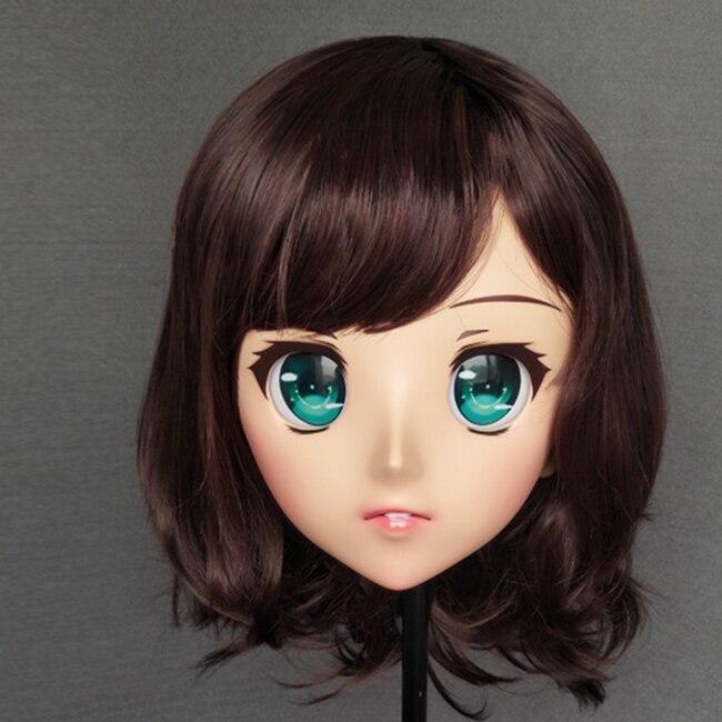 Female Sweet Girl Resin Half Head Kigurumi Mask With Bjd Eyes Cosplay Anime Role Lolita Mask Crossdress Doll Kids Costumes & Accessories gl043