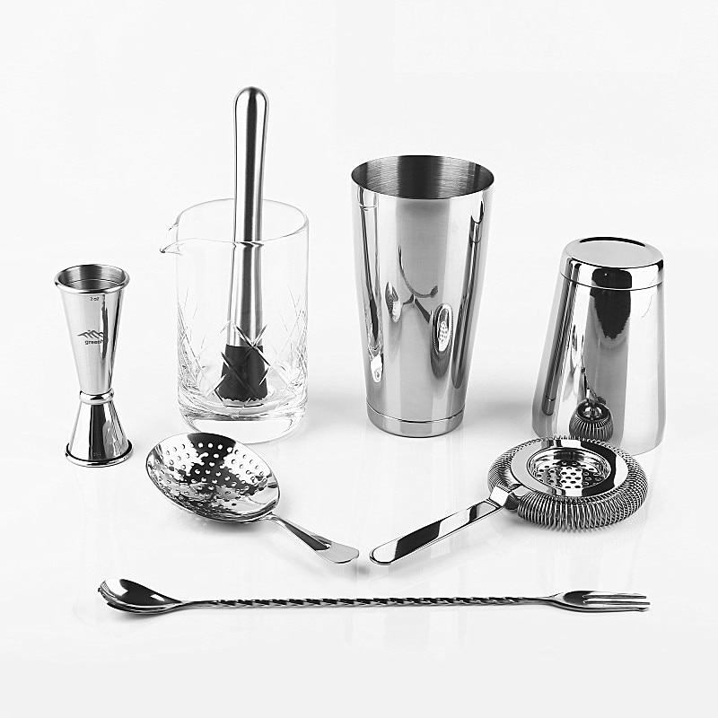 Juego de Herramientas de Bar de alta calidad Kit de barman de 8 piezas: agitador de Boston, Jigger, colador de Hawthorn y Julep, cuchara, mezclador y vidrio-in Sets para bares from Hogar y Mascotas    1