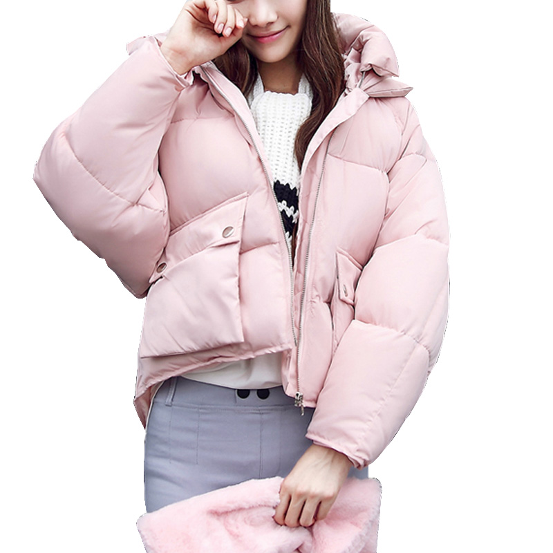 Winter Coat women 2017 Long sleeve Hooded Short Padded Down Jacket   Parka   Female Girls Cotton Coats Women Clothing Plus size