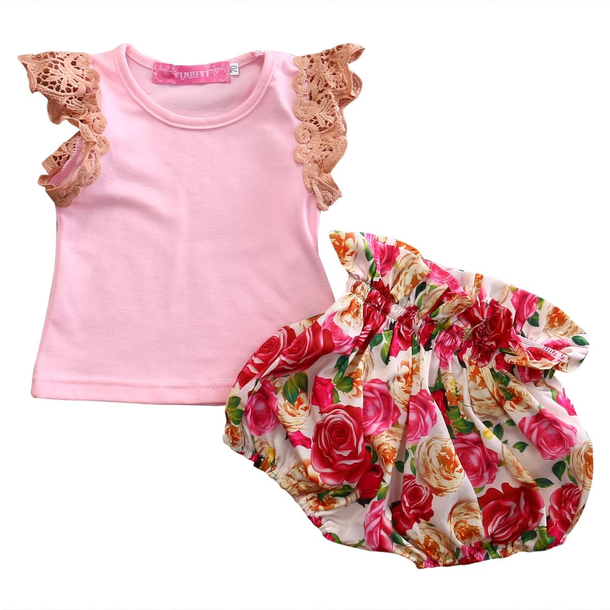 T shirt Tops Sleeveless Cute Floral Shorts Summer Ruffles Shorts Clothing Outfits Set 2pcs Baby Kids Girls Clothes Set Lace майка sleeveless t shirt deha с кружевными вставками