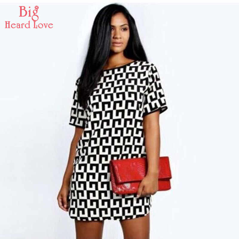 Black And White Plaid  Round Neck Dress Woman  Short Sleeve Loose Summer Fashion Leisure Printing The New Wild NCX-137