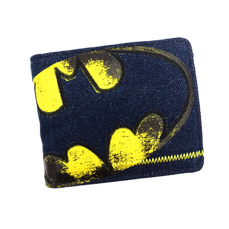 Anime Wallets New Designer Jeans Wallet Batman Superman Denim Wallets Young Boy Girls Purse Small Money Bag anime wallets new designer jeans wallet batman superman denim wallets young boy girls purse small money bag