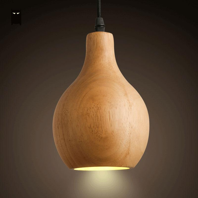 Oak Wood Gourd Pendant Light Fixture Modern Rustic Japanese Korean Nordic Hanging Ceiling Lamp Luminaria Bar Dining Table Room branches pendant light nordic brief fashion rustic gold silver