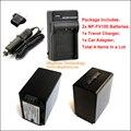 2x NP-FV100 NPFV100 Batería y Cargador de Viaje 1x 1x (4-en-1) y Adaptador de Coche 1x para Sony DCR HDR HXR y Cámara Handycam Videocámaras