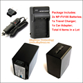 Bateria NPFV100 NP-FV100 2x e 1x Carregador De Viagem (4-in-1) e 1x Car Adaptador para Sony DCR HDR HXR & Câmera Filmadoras Handycam
