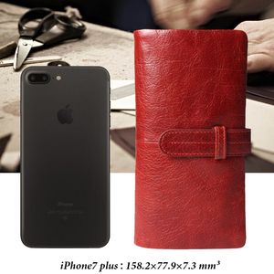 Image 5 - Women Fashion RFID Red Color Long Wallet Genuine Oil Wax Cowhide Leather Bifold Wallets Purse Vintage Designer Coin Purse