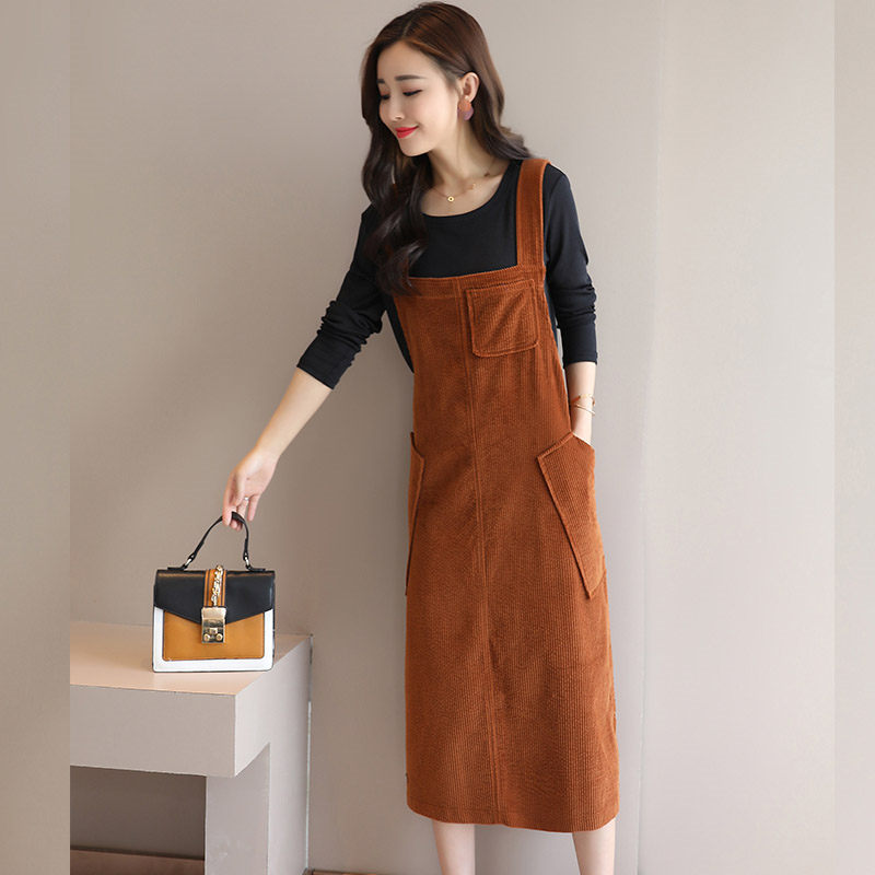 New Corduroy Suspender Dress Women s Casual Two piece Set 2019 Spring Autumn New Long Sleeve