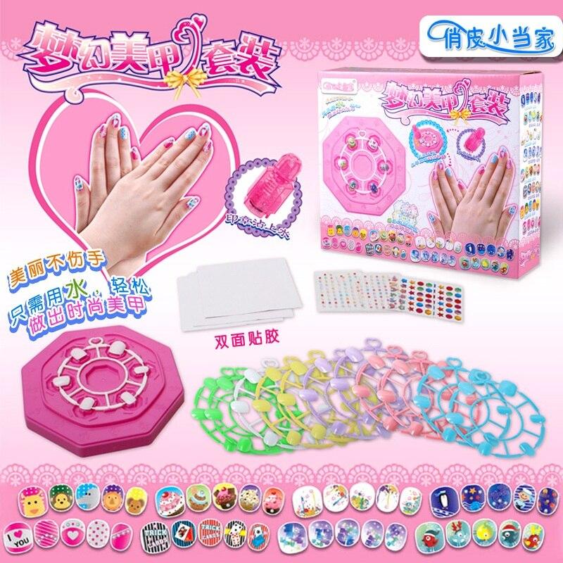 Cartoon Nail Sticker Kits Kid Children Girls Nail Art Decals Set Makeup Dress Up Accessories DIY Educational Toys Gift