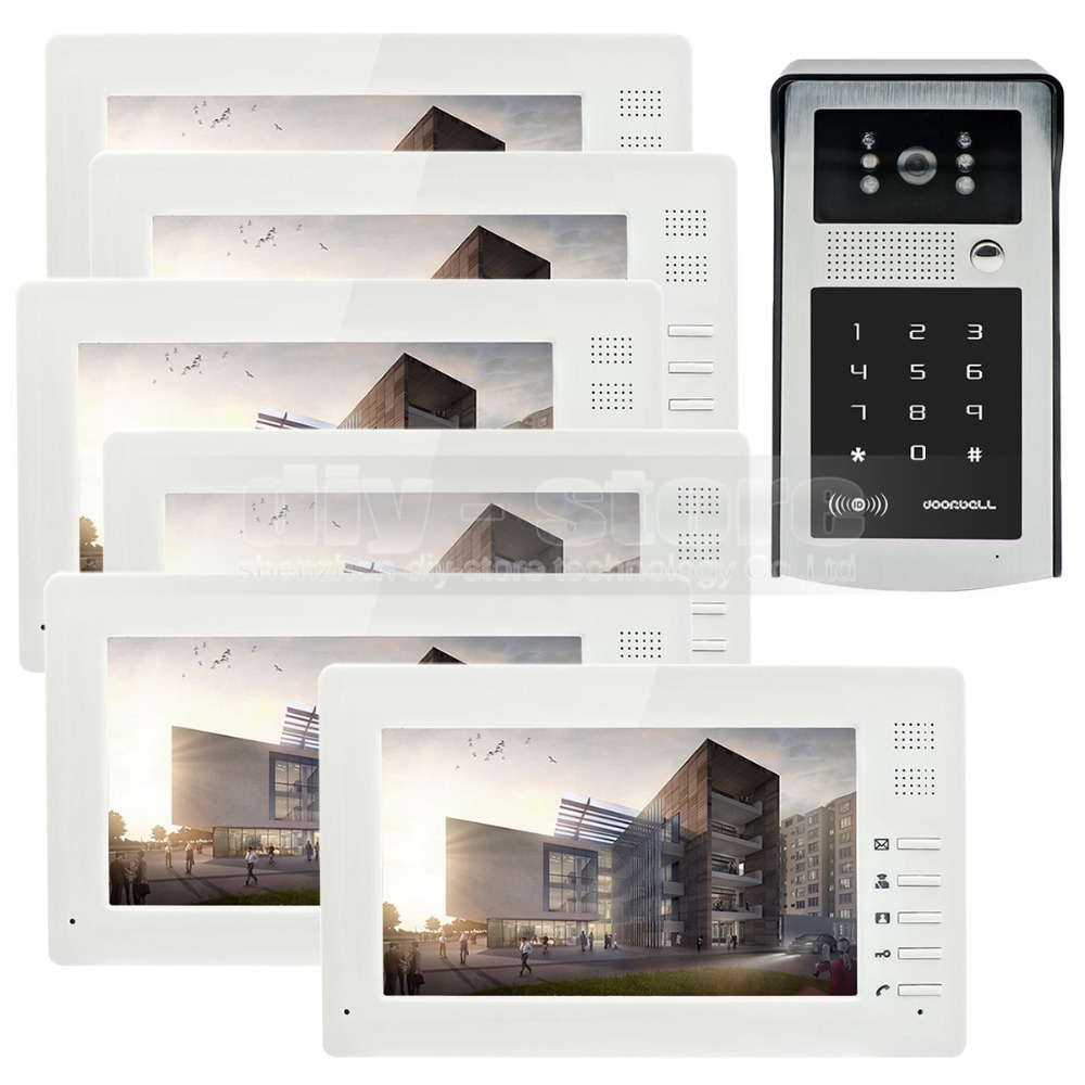 DIYSECUR 7 inch 1024 x 600 HD TFT LCD Screen Video Door Phone Video Intercom Doorbell Buildin RFID Reader + Password HD Camera 7 inch video doorbell tft lcd hd screen wired video doorphone for villa one monitor with one metal outdoor unit night vision