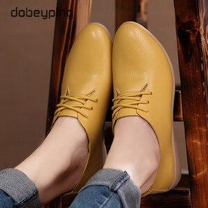 Image 5 - Zapatos de Ballet informales para mujer, mocasines 100% de piel auténtica, planos con cordones, flexibles, talla grande 35 44