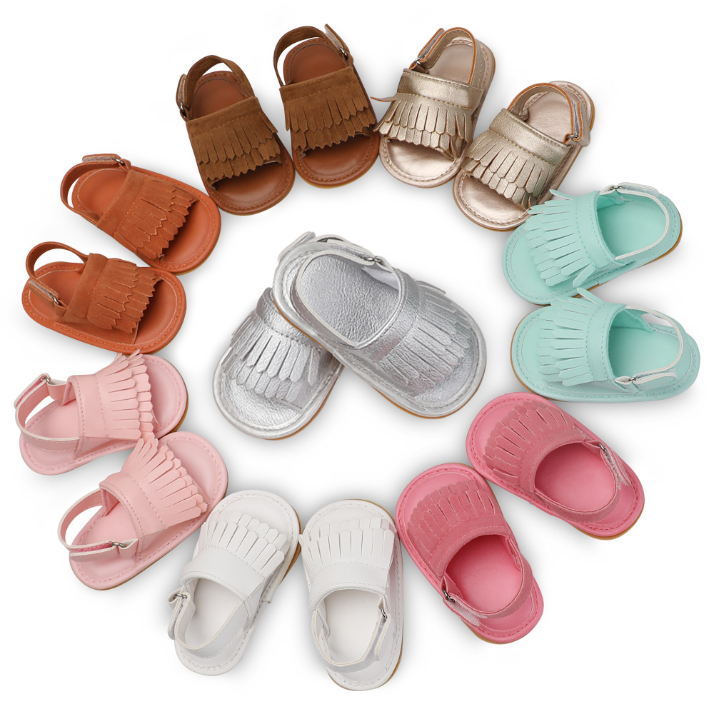 Summer Baby First Walkers Soft Bottom Fringe Candy Color Shoes Girls Baby Toddler Slippers Boys Prewalkers QFSummer Baby First Walkers Soft Bottom Fringe Candy Color Shoes Girls Baby Toddler Slippers Boys Prewalkers QF