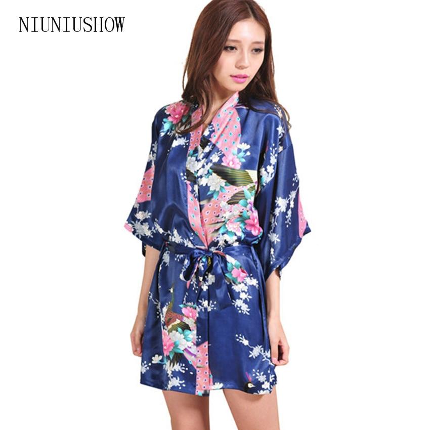 Hot Sale Navy Blue Women Kimono Robe Obi Japanese Yukata Geisha Dress Sexy  ...