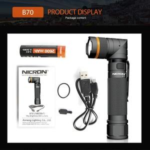 Image 5 - NICRON Magneet 90 Graden Oplaadbare LED Zaklamp Handenvrij 800LM Ultra Hoge Helderheid Waterdichte Camo Hoek LED Zaklamp B70