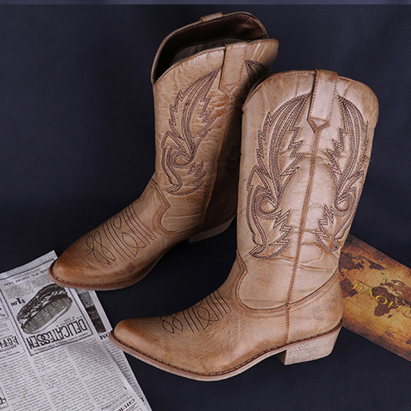 Classic Western Cowboy Boots For Women Pointy Toe Leather Cowgirl Boots Square Heels Shoes Woman Knee High Boots