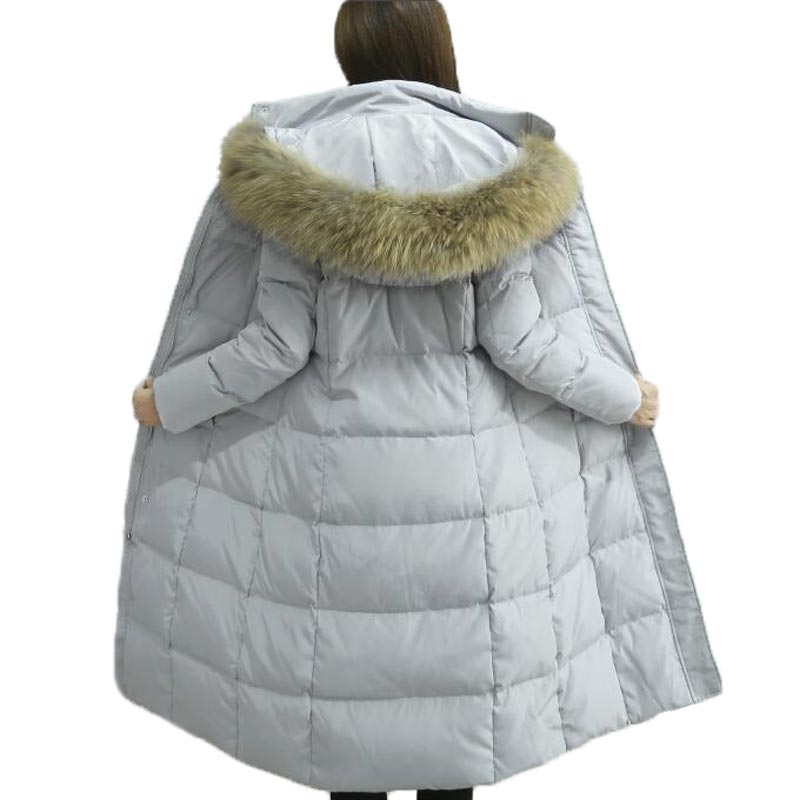 Real Large Fur Collar Winter White Duck Down Coat Women X-long Thicken Warm Parka Hooded Slim Down Jacket Female Overcoat NW0057