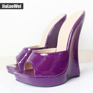 Jialuowei/Новое поступление; Женские босоножки; Шлепанцы на очень высоком каблуке 18 см; Женские пикантные туфли-лодочки на танкетке; Женские вьетнамки