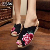 Fashion Peony Flowers Embroidery Women S Sandals Hot Sale Wedges Heels Nation Retro Flip Flops Free