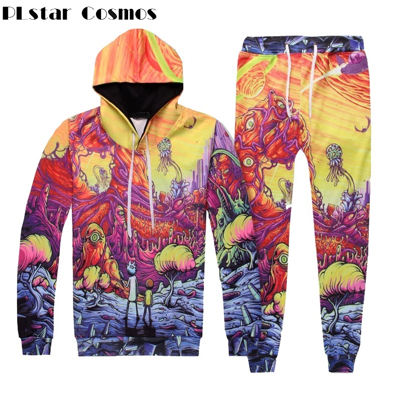 PLstar Cosmos Rick And Morty Volcanoland 3d Print Hoodie And Pant For Men Women Fashion Set Two Pieces Top And Pants Unisex