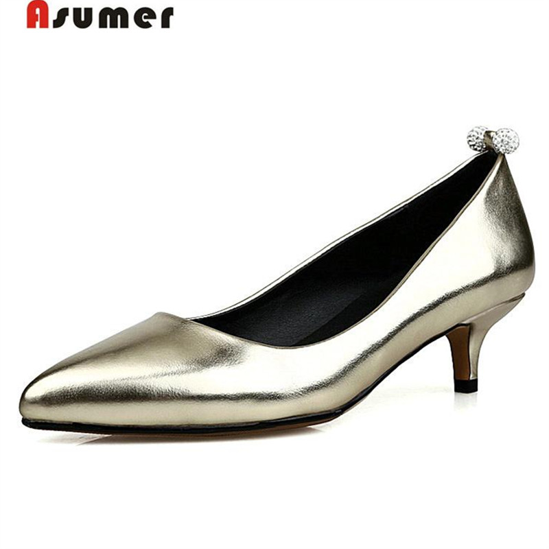 Asumer Large size 34-43 women shoes wedding party shoes lady solid pumps rhinestone spar ...