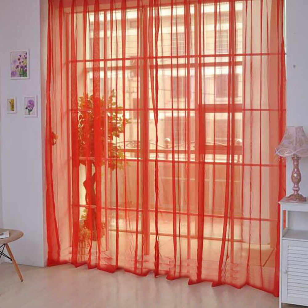 Curtain Pure Color Tulle Door Window Curtain Drape Panel Sheer Scarf Valances Modern bedroom Living Room Curtains Cortinas