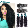7A Malaysian Deep Curly Hair Malaysian Virgin Hair Deep Wave 3 Bundles With Lace Closures Malaysian Deep Wave With Closure