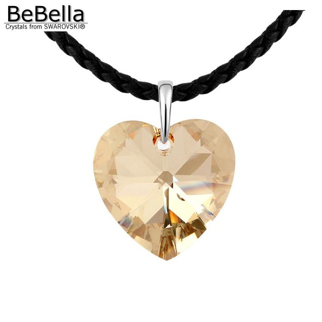 c83885688a31 BeBella big heart crystal pendant necklace 60 cm long chain necklace made  with Austrian crystals from