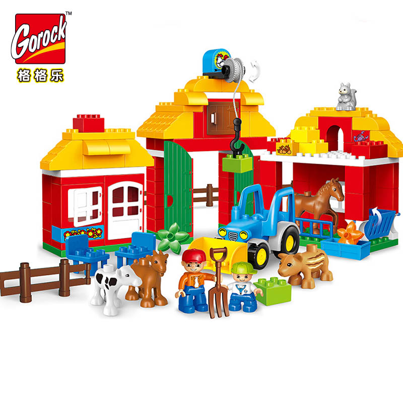 GOROCK 123pcs Large Blocks Happy Zoo With Animals Building Blocks Set Kids DIY Creative Compatible With Duploe Big Blocks Toys 26pcs highway bridge blocks set large train railway building blocks kids diy toys compatible with duploe children gift